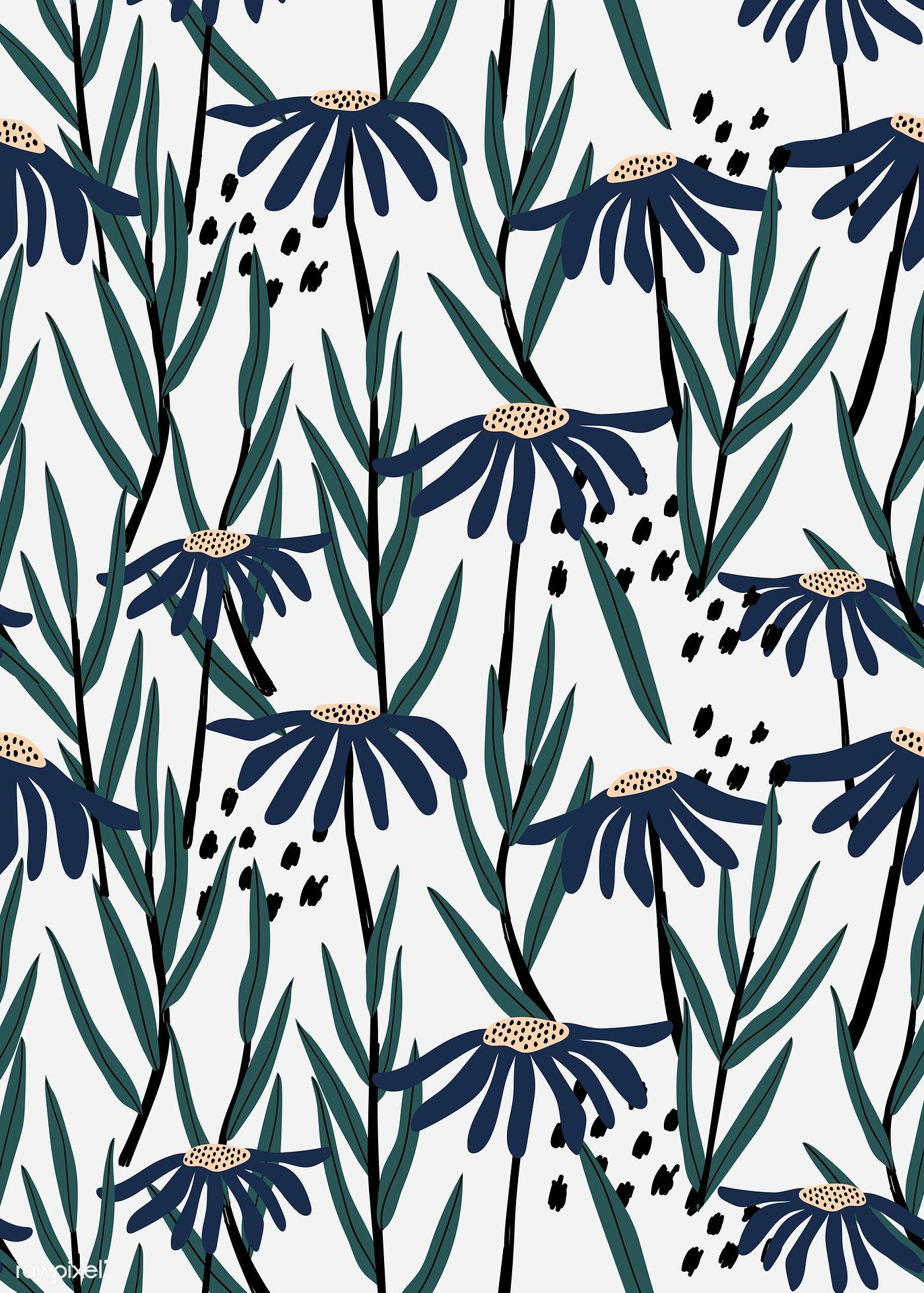 Blue daisy patterned white background vector   premium image by rawpixel.com