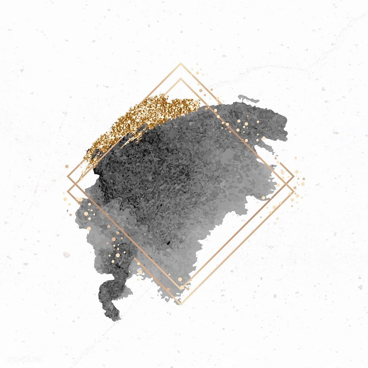 Gold rhombus frame on black watercolor background vector | premium image by rawpixel.com / Aum / sasi