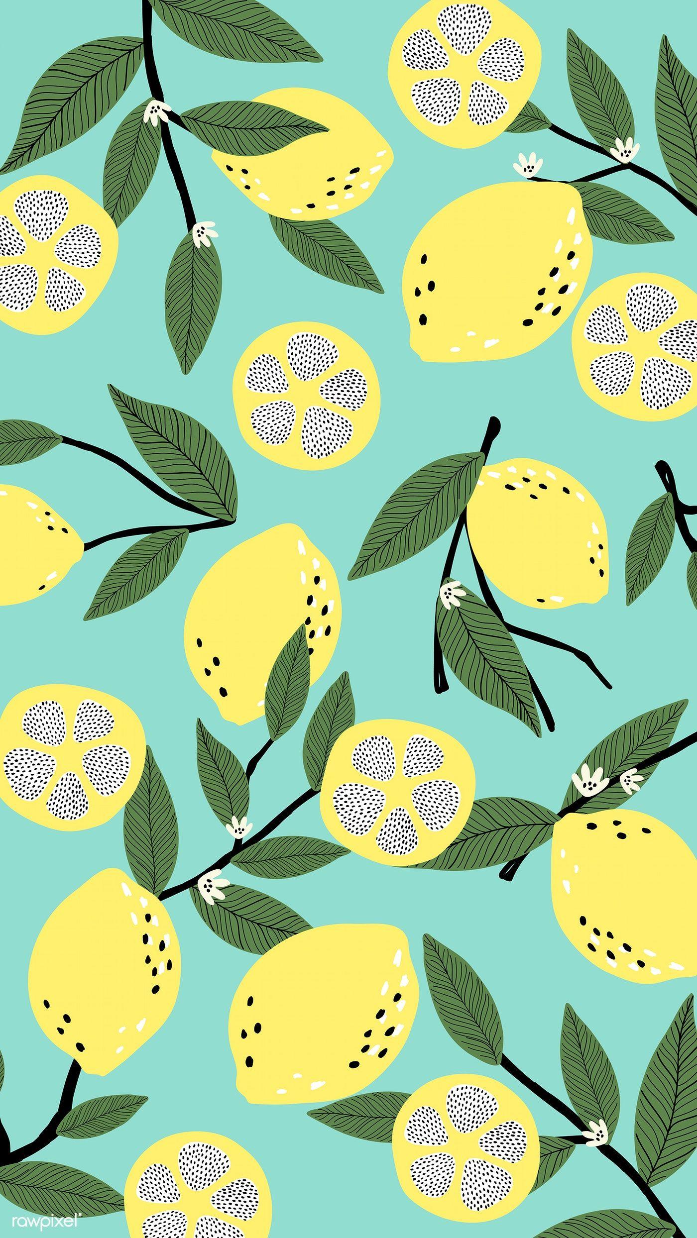 100 Download Premium Vector Of Lemon Patterned Blue Background Vector 893018 Wallpapers