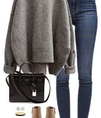SHOP THE LOOK - casual winter outfit - cute booties - chunky sweater