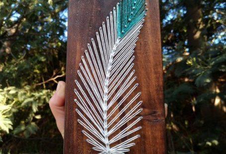 Feather string art on wood tribal boho minimalist decor - Indian southwest style feather sign decor
