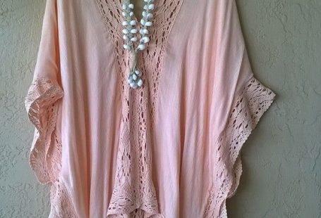 Image of Gypsy Beach Peach crochet cape sleeve kimono kaftan for bohemian resort