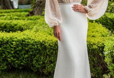 Innocentia 2019 toarmina bridal long bishop sleeves v neck wrap over heavily embellished bodice glamorous sexy fit and flare wedding dress v back medium train (15) mv -- Innocentia 2019 Wedding Dresses