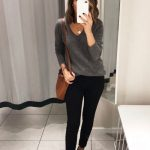 Grey cashmere sweater, cognac tan crossbody bag, Leopard loafers, Minimalistic Style, Fall Outfit. Cute women