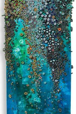 PatternPrints Journal, 2013. Dit kunstwerk spreekt mij aan door de koude kleuren en de overloop. Deze overloop inspireert mij om de sterren in mijn kunstwerk rustig over te laten lopen.
