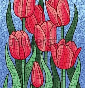 Polygonal vector mosaic with red tulips. Colorful polygonal yellow background.