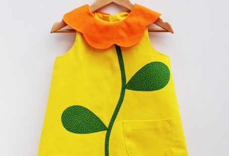 Yellow Flower Collar Girls Dress in cotton by wildthingsdresses