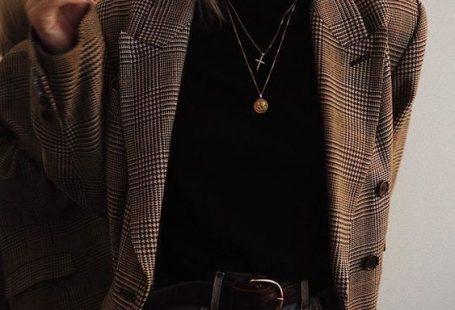 Plaid Blazer Layered Necklaces Classic Black Leather Belt Vintage Levi