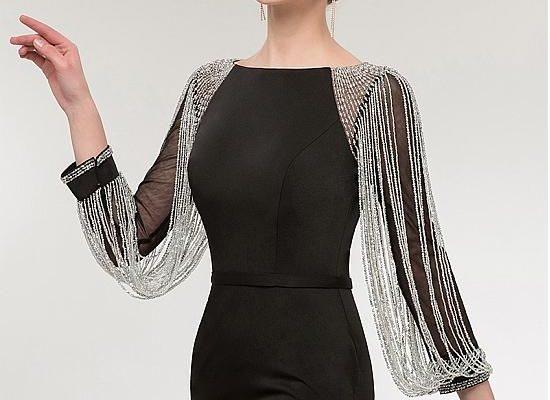 Acheter Charming Simiantan Bateau Neckline Long Sleeves Sheath /Column Evening Dress With Beadings pas cher chez Magbridal.com