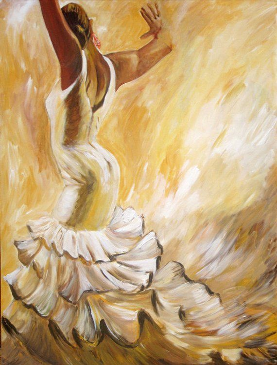 Flamenco Dancer- Flamenco Art Print on Paper 16x20- Back of a Dancer in White Dress - Earth Tone Color Back Ground , Free shipping