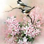 Beautiful Love Birds and Pink Flowers - Art Print of Watercolor Painting, Chickadee, Nature, Handmade. [$25] alltopratedseller from top store