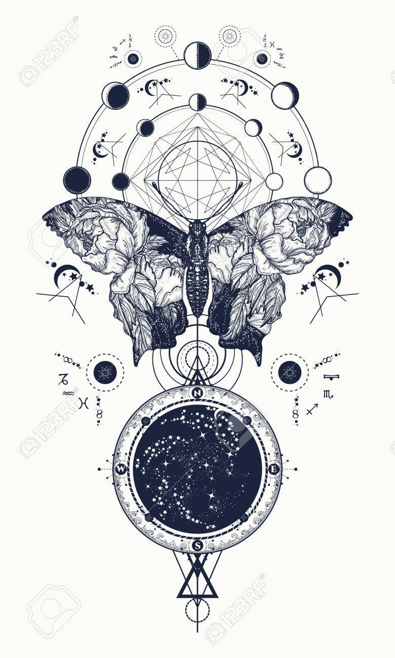 Butterfly tattoo in geometrical style. Beautiful butterfly boho t-shirt design, wings and roses, Esoteric symbol of freedom, magic, travel. Tattoo for woman, style double exposure Stock Vector - 73149292