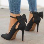 Chaussures à talons hauts avec noeud papillon mode élégant femme escarpin noir