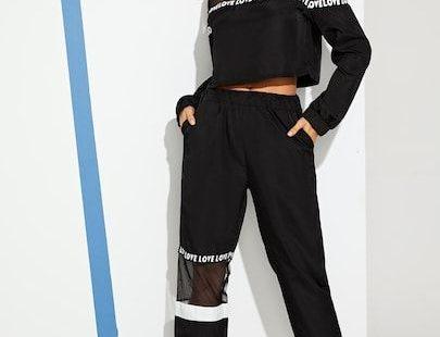 Contrast Mesh Top With Letter Print Pants [twopiece190109051] - $40.00 : cuteshopp.com