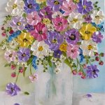 Impressionistic oil impasto painting of wildflowers in a vase. Great personal gift or for a small space and grouping with other paintings. Signed by me and comes with artist statement! How to Order: Choose Size Choose Type of Canvas: Studio is for framing 7/8 edge, Gallery does not require framing.