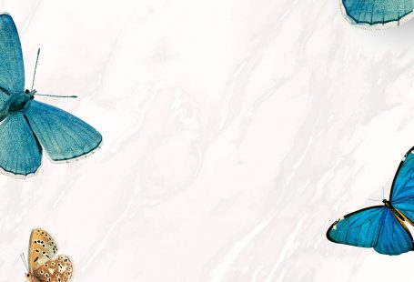 Blue butterflies patterned on white mobile phone wallpaper vector