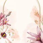 Floral gold frame on beige background vector