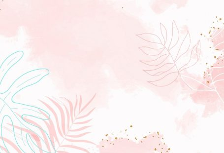 Pink leafy watercolor background vector