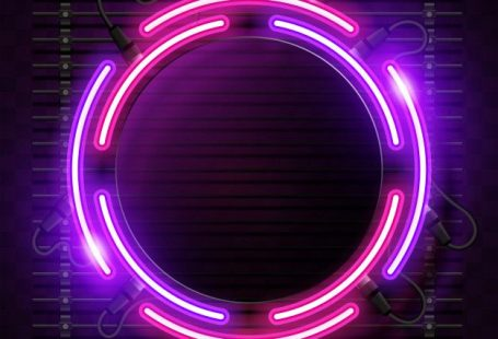 Fundo de néon arredondado Vetor Premium