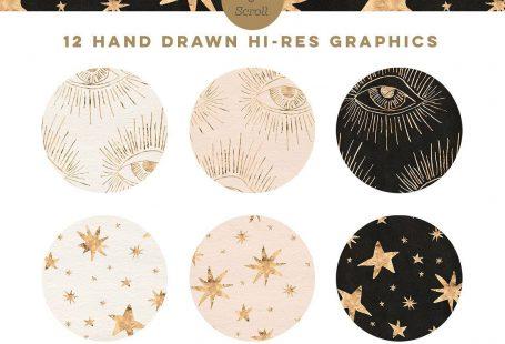 Gold Nights Hand Drawn Stars by Blixa 6 Studios #ad