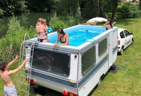 Caravan omgebouwd tot zwembad - topgear.nl/...