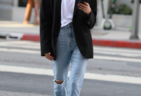 Brittany Xavier Spring Outfit Idea — Cat-Eye Sunglasses, White T-Shirt, Black Blazer, Distressed Jeans, and Black Ankle Boots