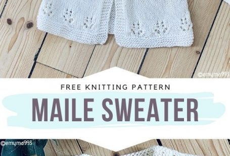 Maile Sweater Free Knitting Pattern This baby cardigan is so retro! Its irresistible charm may be caused by the beautiful floral motifs. What do you think? Very subtle and elegant indeed! You can make it in timeless white or choose a delicate pastel shade instead. #knitcardigan #knitbabycardigan