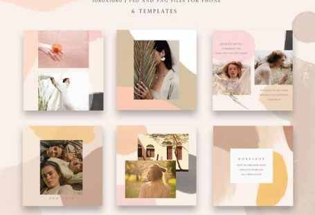 Beautiful post for Instagram Abstract style! Trendy template for your story promote. All template in photoshop file, format PSD.  You will get:  - 6 stylish social media template - Format PSD - Watercolor background in layer