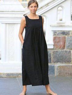 Long linen dress. Black linen dress / Loose summer dress / Linen clothing / women linen / maternity