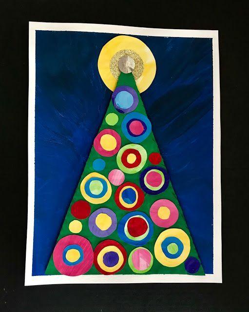 Kandinsky inspired Christmas art project for kids! #christmascrafts