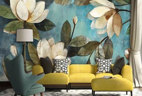 Hoge Kwaliteit Diepe Textuur 3D Witte Lotus Retro Stijl Olieverfschilderij Muurschilderingen Woondecoratie Behang Woonkamer Achtergrond Muur(China (Mainland))
