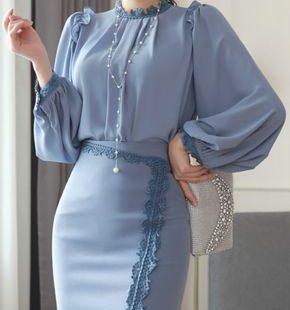 StyleOnme_Lace Trim Asymmetrical Hem Pencil Skirt #blue #lace #feminine #skirt #koreanfashion