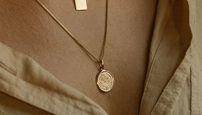 Leah Alexandra jewelry – mayan calendar gold necklace and gold id tag note necklace layers