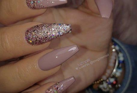 Mauve and Glitter on long Coffin Nails  •  Nail Artist: @luzpantoja127  Follow...