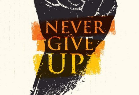Never Give Up Motivation Poster Concept. Creative Grunge Fist Vector Design Element On Stain Background. Download a Free Preview or High Quality Adobe Illustrator Ai, EPS, PDF and High Resolution JPEG versions.