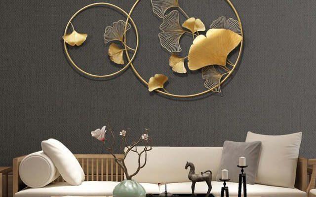 Novo chinês parede de ferro forjado ginkgo biloba decoração para casa artesanato criativo parede pendurado sofá fundo mural ornamento decoração Loja Online