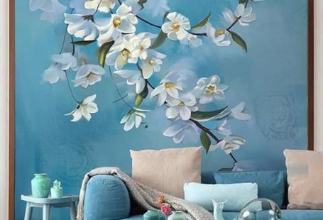 Oil Pating Flowers and Bird Wall Stickers Blue Color Vintage