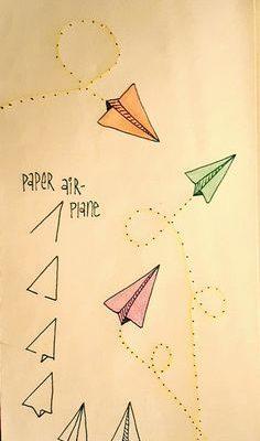 Etapes pour dessiner un avion en papier