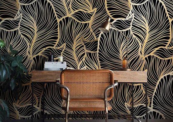 Solide feuille de papier peint, feuilles exotiques fond d'écran, de style Baroque murale, décoration intérieure, facile installer Wall Decal, amovible Wallpaper B012
