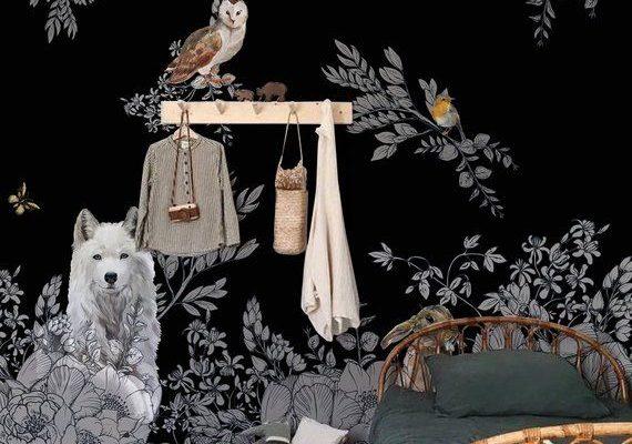Peinture murale de mur de forêt enchantée foncée, papier peint sauvage d