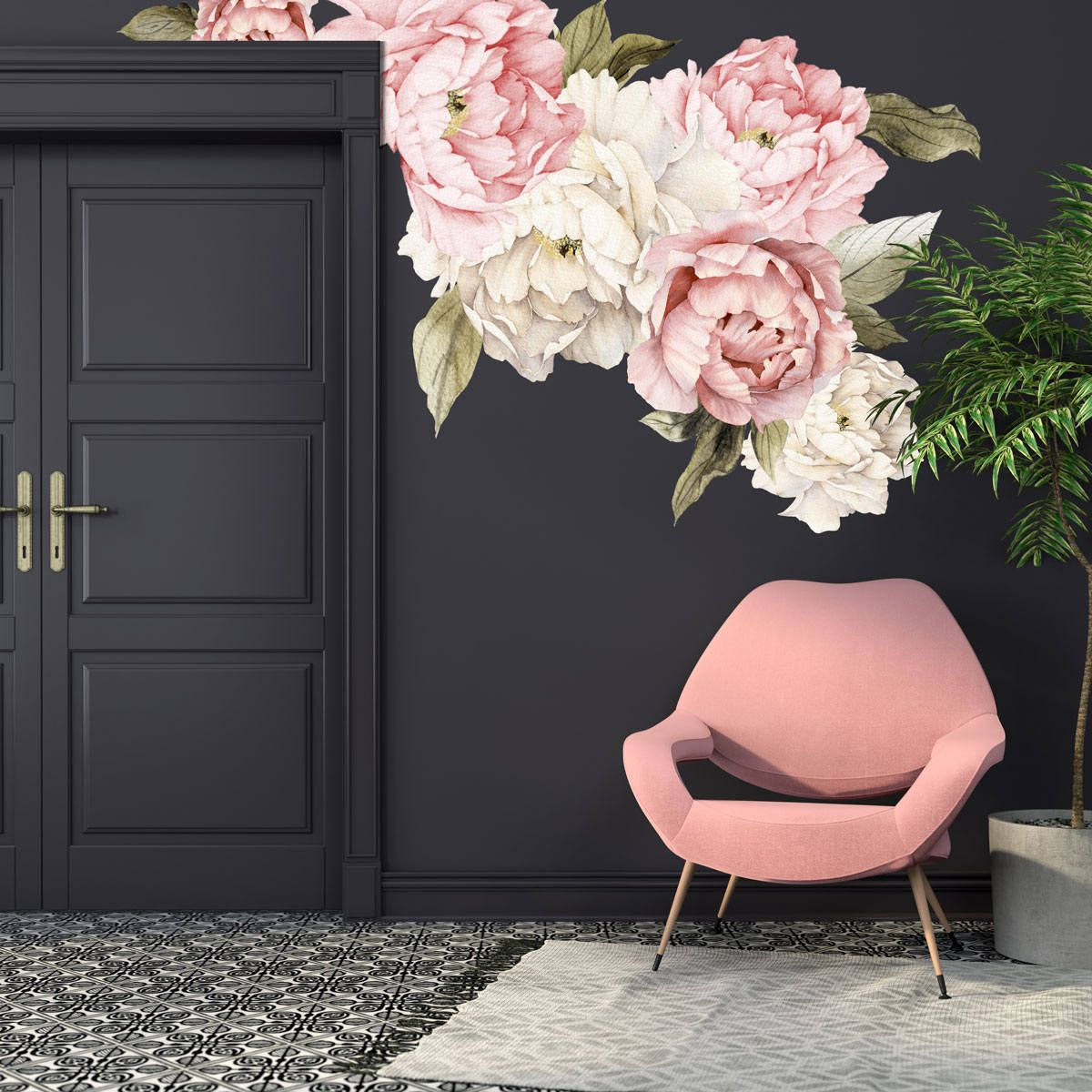 Peony Wall Decals Watercolor Peony Large Self Adhesive