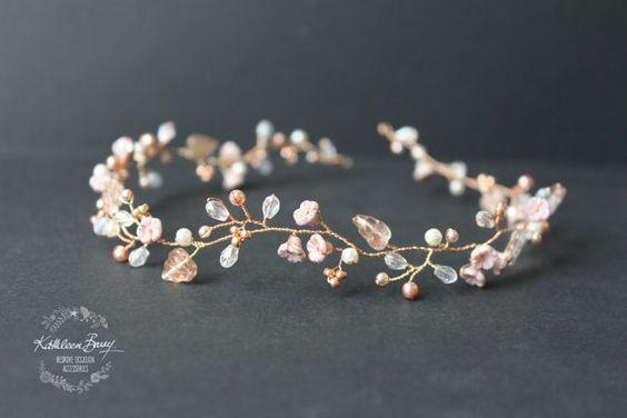 R950 Zoe Rose gold wedding bridal hair by KathleenBarryJewelry: