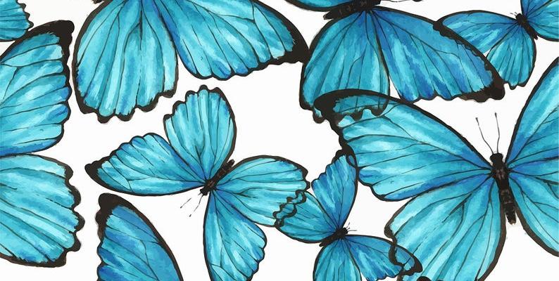 Removable Wallpaper Self Adhesive Blue Butterflies Nursery Wallpaper Peel & Stick Wallpaper   - B U T T E R F L I E S #bluewallpaper #bluewallpaperiphone #bluewallpaperaesthetic