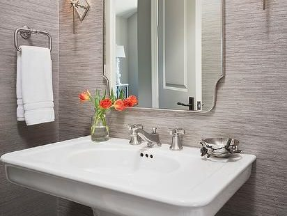 Bathroom - Schumacher Haiku Sisal in Charcoal - comes in 5 colors (L Kae Interiors)