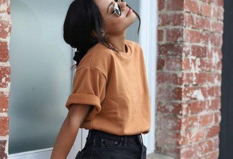 #summer #summerstsyle #fashion #style Spring summer fashion - orange top - black denim skirt