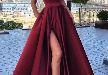 Spaghetti Straps V-neck Long Burgundy Prom Dresses With Split, PD0114   -   -  Source by baileyskittles