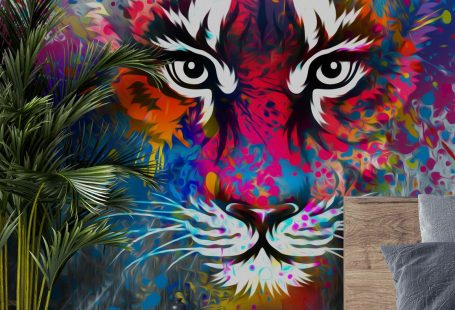 Stunning Tiger Art wall mural from Wallsauce. This high quality Tiger Art wallpaper is custom made to your dimensions.   Transform your room with this tiger art wall mural. Perfect for teenage bedrooms, this striking graffiti mural is sure to create the ultimate feature wall. Featuring a rainbow of bright colours, this graffiti tiger wallpaper mural will introduce colour to your space no matter what size. Click to see more! #tiger