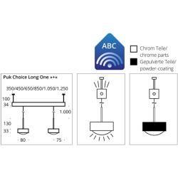 Top Light Puk Choice Long One + Pendelleuchte 3 Köpfe anthrazit-chrom 65cm Led Top LightTop Light