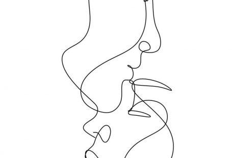 iphone wallpaper minimalist #hintergrundbildiphone #tapete Love poster. Couple print. 2 faces. Minimal art. We are one line. Men and woman art. Line illustrati #abstraktezeichnungen