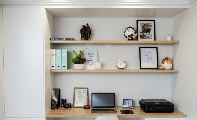 small home office tucked into a family room or basement home office, modern neutral home office desk area Everlong Joinery, Belmont